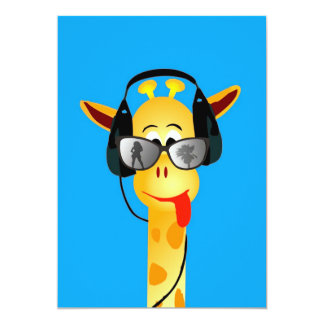 funny giraffe with headphones summer glasses comic personalized invites