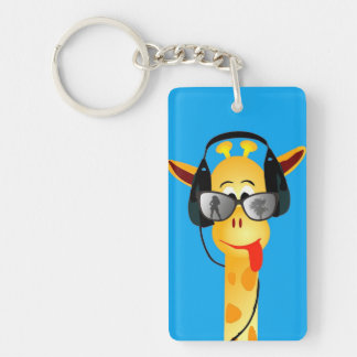 funny giraffe with headphones summer glasses comic Single-Sided rectangular acrylic keychain