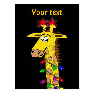 Funny Giraffe With Lights Whimsical Christmas Postcard