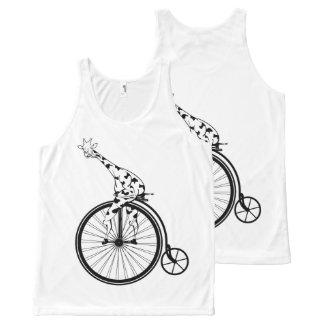 Funny giraffee riding a penny-farthing All-Over-Print tank top