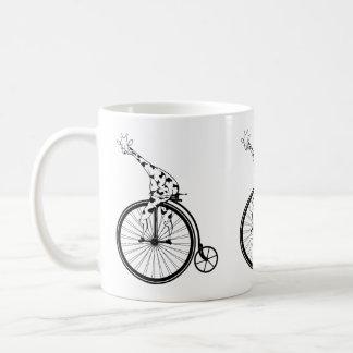 Funny giraffee riding a penny-farthing coffee mug