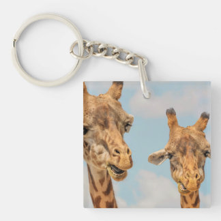 Funny Giraffes Single-Sided Square Acrylic Keychain