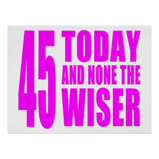 Funny Girls Birthdays  45 Today and None the Wiser Posters
