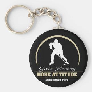 Funny Girls Hockey More Attitude Keychain