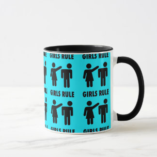 Funny Girls Rule Teal Turquoise Blue Girl Power Mug