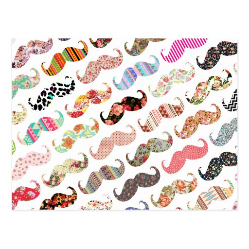 Funny Girly  Colorful Patterns Mustaches Post Cards