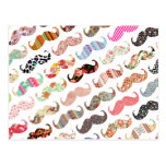 Funny Girly  Colourful Patterns Moustaches Post Cards