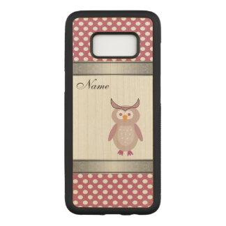 funny girly  cute owl polka dots personalized carved samsung galaxy s8 case