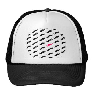 Funny Girly Pink  And Black Mustache Pattern Mesh Hats