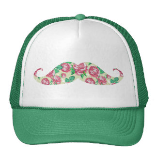 Funny Girly Pink Green White Floral Mustache Trucker Hat