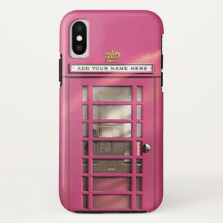 Funny Girly Pink Vintage British London Phonebox Case-Mate iPhone Case