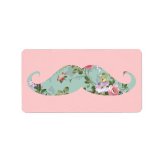 Funny Girly Vintage Red Pink Floral Mustache
