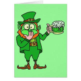 "Funny ""Go Green"" Leprechaun Beer Card"