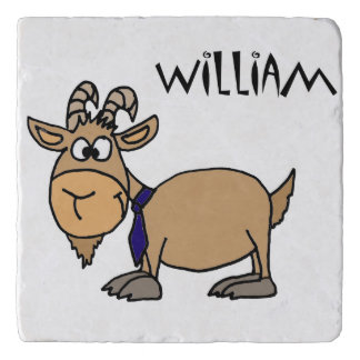 Funny Goat and Tie Cartoon Trivet