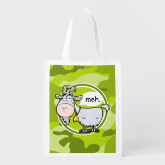 Funny Goat; bright green camo, camouflage Market Totes