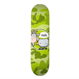 Funny Goat bright green camo camouflage Custom Skate Board
