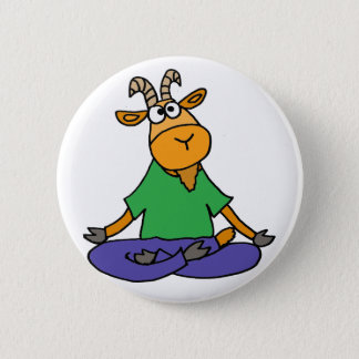 Funny Goat Doing Lotus Position Yoga 2 Inch Round Button