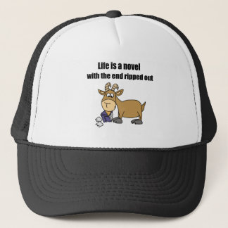Funny Goat eating Book Cartoon Trucker Hat