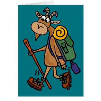 Funny Goat Hiking Art Card