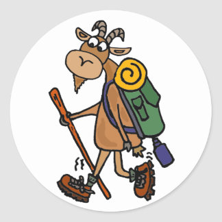 Funny Goat Hiking Art Classic Round Sticker