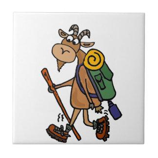 Funny Goat Hiking Art Tile