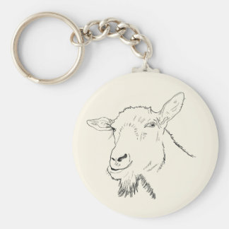 Funny Goat Line Drawing Animal Art Design Keychain