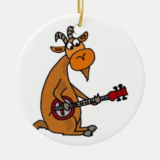 Funny Goat Playing Banjo Art Ceramic Ornament