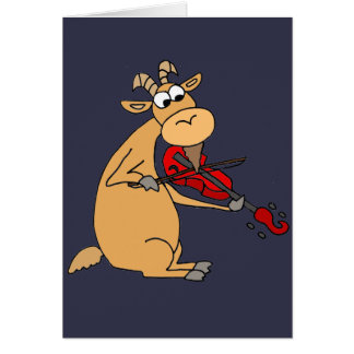 Funny Goat Playing Fiddle Cartoon Card