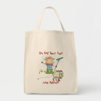 Funny Goat Poop Cartoon Grocery Tote Bag
