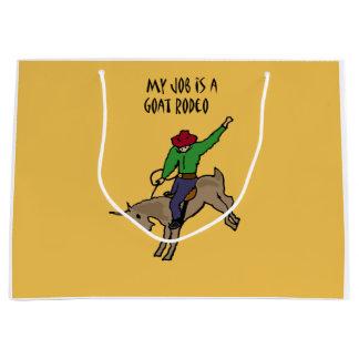 Funny Goat Rodeo Job Humour Cartoon Large Gift Bag