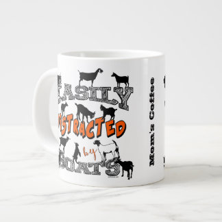 FUNNY GOATS | Easily Distracted by Goats Orange Large Coffee Mug
