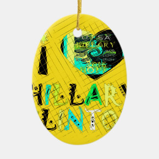 Funny Golden lovey Amazing Hope Hillary for USA Co Ceramic Oval Ornament