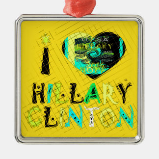 Funny Golden lovey Amazing Hope Hillary for USA Co Silver-Colored Square Ornament