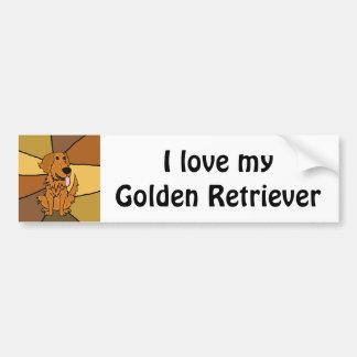 Funny Golden Retriever Dog Art Bumper Sticker