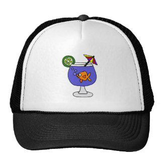 Funny Goldfish in Tropical Drink Art Mesh Hats