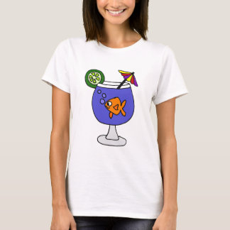 Funny Goldfish in Tropical Drink Art T-Shirt