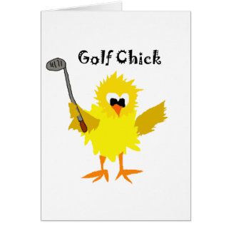 Funny Golf Chick Cartoon Art Card