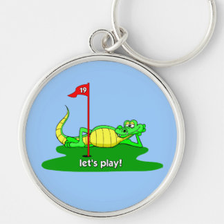 funny golf Silver-Colored round keychain