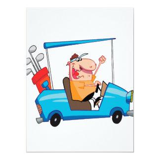 """funny golfer in golf cart 6.5"""" x 8.75"""" invitation card"""