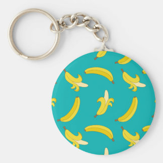 Funny Gone Bananas illustrated pattern Basic Round Button Keychain