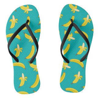 Funny Gone Bananas illustrated pattern Flip Flops