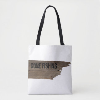 Funny Gone Fishing Wooden Sign Tote Bag