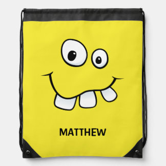 Funny goofy cartoon face yellow personalized drawstring backpack