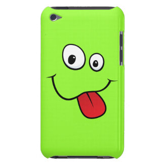 Funny goofy smiley sticking out his tongue, green barely there iPod case