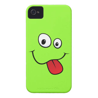 Funny goofy smiley sticking out his tongue, green iPhone 4 cover