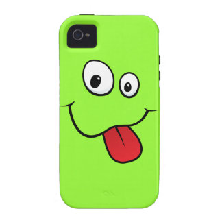 Funny goofy smiley sticking out his tongue, green iPhone 4 case