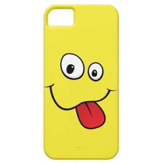 Funny goofy smiley sticking out his tongue, yellow iPhone 5 cover