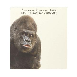 Funny Gorilla custom text notepads