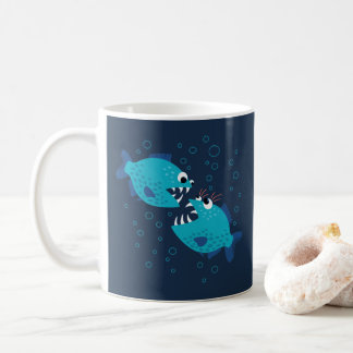 Funny Gossiping Blue Cartoon Piranha Fish Coffee Mug