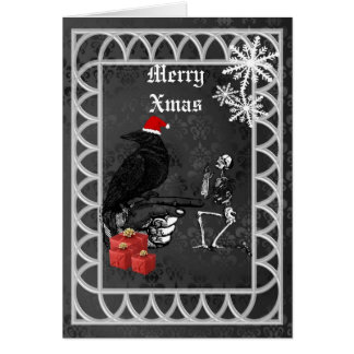 Funny  gothic crow  Xmas Card